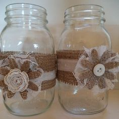 8 White Hand torn Cotton Burlap Handmade Mason Jar Country Wedding Decorations