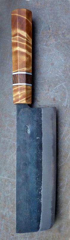 Nakiri chefs knife rehandle. New handle in birch burl, walnut and aluminum, blade in blue paper / aogami II san mai steel.