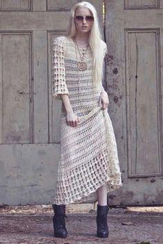 Designer Crochet: The 50 Famous Fashion Designers Project Christian Dior Vintage Crochet Dresses, Crochet Skirts, Crochet Clothes, Dress Vintage, Moda Crochet, Knit Crochet, Boho Dress, Knit Dress, Crotchet Dress