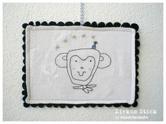 Circus In The Town - Flying Monkey - embroidery art
