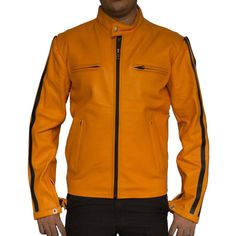 Handmade Yellow leather jackets for men for by UKLEATHERJACKETS