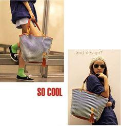 AutoM New Fashion Stripe Design Women Street Snap Candid Tote Single Shoulder Canvas Bag Handbag