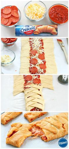 A family fun night couldn't be easier than with this Kid-Favorite Pepperoni Pizza Braid. Guaranteed to please! A family fun night couldn't be easier than with this Kid-Favorite Pepperoni Pizza Braid. Guaranteed to please! Pizza Braid, Braided Pizza Bread Recipe, Pizza Twists, Yummy Food, Tasty, Healthy Food, Healthy Pizza, Paleo Food, Vegetarian Food
