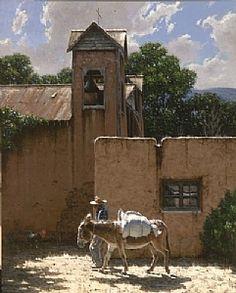 """El Santuario"" by George Hallmark Oil ~ 60 x 48 New Mexican, Mexican Art, Subject Of Art, Southwestern Art, Baby Horses, Cool Paintings, Landscape Art, Love Art, Art Lessons"
