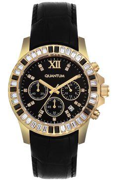 QUANTUM Impulse Crystals Gold Black Leather Chronograph IML421.151 - QUANTUM ΓΥΝΑΙΚΕΙΑ ΡΟΛΟΓΙΑ