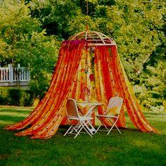 Upside down papasan chair with drapes hanging-or use Christmas lights