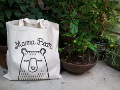 Mama Bear, Cotton Canvas, Tote Bag, Screen Printed, Mother's Day Gift, New Mommy Gift on Etsy, $15.00
