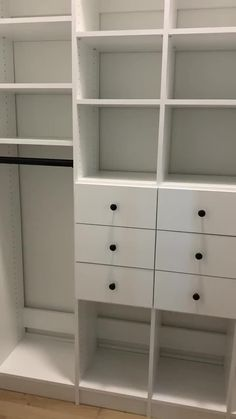 Simple new reach in closet for two young boys. The black and white fit perfectly with our clients new modern farmhouse. Closet Drawers, Closet Storage, Closet Organization, Storage Shelves, Wardrobe With Drawers, Organization Ideas, Bedroom Storage Cabinets, Bedroom Cupboard Designs, Reach In Closet