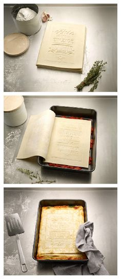 Here's a great idea design by Korefe and brought to my attention by Michael. The first and only Cookbook you can actually read, cook and eat. Made out of 100% fresh pasta it can be opened, filled with ingredients and finally be cooked. Packaged as classic lasagne. The Cookbook was designed as a... #Book, #Cook, #Food, #Kitchen