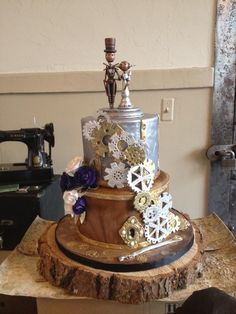 Blue #Steampunk #Wedding #Cake… Wedding #ideas for brides, grooms, parents & planners https://itunes.apple.com/us/app/the-gold-wedding-planner/id498112599?ls=1=8 … plus how to organise an entire wedding, within ANY budget ♥ The Gold Wedding Planner iPhone #App ♥ http://pinterest.com/groomsandbrides/boards/  for more #wedding #inspiration