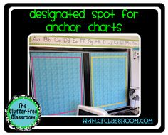 Designate a location for anchor charts for reading, writing, math and social studies when setting up my classroom.
