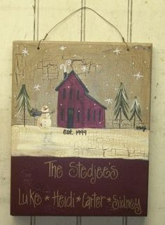 Burgundy Winter Saltbox Personalized Sign | Handmade Personalized Items | Gainers Creek Crafts