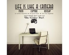 Life is like a camera creative quote wall stickers adesivo de parede vinyl wall stickers home decoration wallpaper mural art White Wall Stickers, Removable Wall Stickers, Wall Stickers Home Decor, Vinyl Wall Stickers, Vinyl Wall Decals, Decorative Stickers, Window Decals, Camera Quotes, Casa Loft