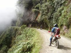 """Driving this in a car was terrifying. The Bolivia """"Highway of Death"""" and on a bike looks just like good fun! Highway Of Death, Dangerous Roads, Bolivia, Offroad, Places To Go, Road Trip, Motorcycle, Adventure, World"""