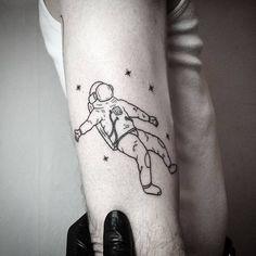 Hand Poke Floating Astronaut Tattoo and Stars by Pokeoooooooh