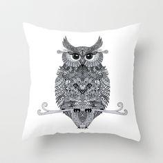 MOJO  Throw Pillow by Monika Strigel - $20.00 #owl #illustration #zentangle #black #white #lines #aztec #pattern #tribal #symmetric #eyes #cute #owl #lashes #feather #feathers #pillow #sofa