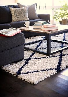 Color: Ivory, Navy Construction: Machine tufted Pile: 50% rayon made from bamboo and 50% cotton Backing: Cotton and natural latex Rug pad recommended [Custom Pr