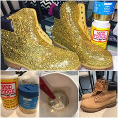 DIY Glitter Timberlands Mod Podge, Glitter, Paint Brush, Paper Cup to mix Mod Podge & Glitter. 2 layers of mix added. Let dry 45 min in between layers. I sprinkled loose glitter after 1st layer of mix. Then sealed it with a final layer of the Mod Podge/Glitter mix.