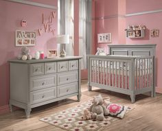 Natart Belmont 2 Piece Nursery Set in Stone Grey-Crib and Double Dresser