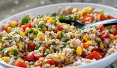 Mexican Brown Rice Salad - Recipes by WICShopper Easy Salads, Summer Salads, Vegetarian Recipes, Cooking Recipes, Healthy Recipes, Delicious Recipes, Tasty, Orzo Salad Recipes, Marinated Vegetables
