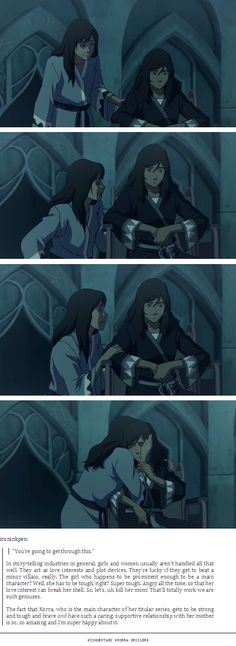 """Very important.  """"You're going to get through this.""""  Well written female characters.  Damn good writing in general. #LoK"""