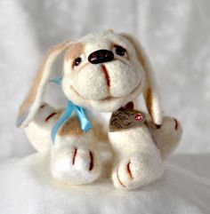 "Heart-Full-of-Love is one-of-a-kind needle felted wool puppy, about 12 cm (5"") tall. Glass bead eyes. Loosely five way jointed with locknut joints."