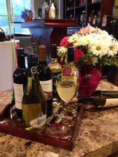 """""""Happy """"29th"""" birthday to me, thanks to my besties. They gave me a Heartwood & Oak selection of wine. If the weather was nicer we would be out on the deck enjoying our late spring evening. But our gardens are enjoying the rain and we are enjoying our wine. Salute' and Thank you!"""""""