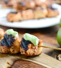 I would totally do this minus the Avocado Ranch sauce. Chipotle Lime Grilled Chicken Skewers with Avocado Ranch—keep this easy recipe in mind for your next barbecue! Grilling Recipes, Cooking Recipes, Campfire Recipes, Cooking Ideas, Avocado Ranch, Avocado Cream, Grilled Chicken Skewers, Lime Chicken, Chicken Avacado
