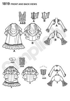 Pattern for steampunk skirt.  I like B.  Who made the skirts for the current costume?  Line Drawing from Simplicity#1819