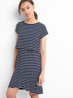 737c1bf660 Gap Women s Maternity Stripe Layered Nursing T-Shirt Dress Navy White Stripe