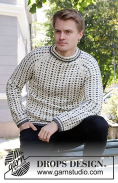 Knitted sweater for men with Nordic Icelandic pattern and raglan in DROPS Lima. Knitting Patterns Free, Free Knitting, Free Pattern, Drops Design, Drops Karisma, Fair Isle Knitting, Crochet Diagram, Work Tops, Tejidos