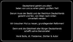 Bildzitat Umverteilung des Reichtums von Oben nach Unten - Zitat von Horst Bulla - Gesellschaftskritische Zitate / Politik - Zitate / Quotes