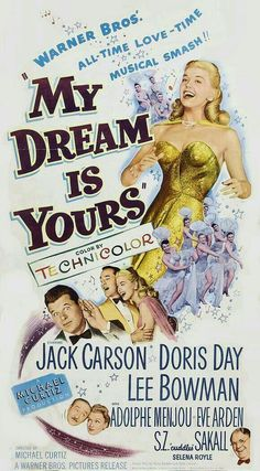 Anyone up for a Doris Day movie marathon? She has the voice of an angel. Love this movie Old Movie Posters, Classic Movie Posters, Classic Movies, Old Movies, Vintage Movies, Great Movies, Vintage Tv, Doris Day Movies, Movie Marathon