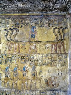 Yooniq images - Egypt, Thebes (UNESCO World Heritage List, 1979) - Luxor - Valley of the Kings. Tomb of Tausert. Expanded by Setnakht. Burial chamber. Mural paintings (Dynasty 20, Setnakht, 1188-1186 BC) (KV14 - 333518)