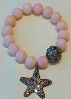 Natural pink opal, champagne coloured diamonds & multi coloured tourmaline charm bracelet Coloured Diamonds, Pink Opal, Champagne Color, Pearl Necklace, Pearls, Natural, Bracelets, Collection