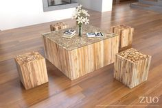 Zuo Cave Table Stool Natural – Modish Store