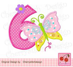 Butterfly Birthday Number 6Digital by CherryStitchDesign on Etsy, $2.99