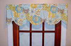 Waverly Pom Pom Play or Button Blooms Valance, Blue Yellow Window Valance, Lined Shaped Valance, Scalloped Valance, Kitchen, Bedroom Valance
