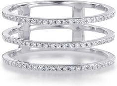 14k White Gold Three Row Diamond Ring. Size 7