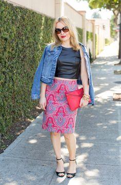 #Levis Denim Jacket, #JCrew Paisley Skirt, #Nordstrom Vegan Leather Top