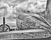 DC-3, American Airlines, vintage airplane art, black and white aviation photo, pilot gift, boys room, airplane picture