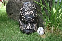 Here is a wooden #Fijian mask with a hand carved #turtle representing happiness, the mask measures about 8 INCHES.  This mask was hand carved and hand painted.  It's a beautiful piece of art! Great Tiki decor for your Tiki Bar area or simply your home! #Culture #Souvenir