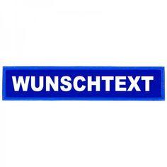 Reflexrückenschild - glänzend - Klett - 38x8cm - blau - Wunschtext Bestellen Sie Ihr reflektierendes Rückenschild mit Ihrem persönlichen Wunschtext. Wir beschriften Ihr...