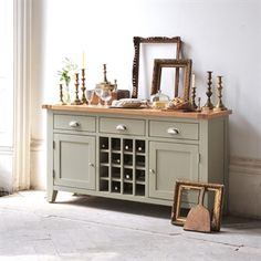 Caldecote French Grey Sideboard with Wine Rack