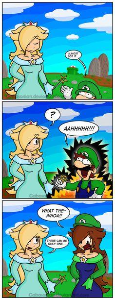 Part 1: gabasonian.deviantart.com/art/…--- One more princess to rescue! ..And one more princess to kidnap! --- The adventure of Rosa-Luigi continues! ..and ends xD What better way for Luigi ...