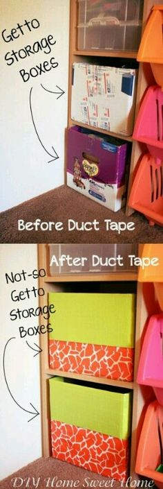 cardboard box + duct tape=cute storage bins