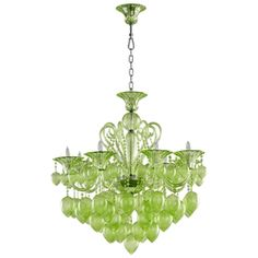 Limited Production Design & Stock: Grand Lime 8 Light Glass Chandelier  * H: 36 x Dia: 35 inches