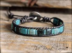 Leather Bracelet- a Boho style leather bracelet with tile beads Sea Glass Jewelry, Crystal Jewelry, Crystal Necklace, Beaded Jewelry, Beaded Wrap Bracelets, Handmade Bracelets, Handmade Jewelry, Crochet Bracelet, Pandora Bracelets
