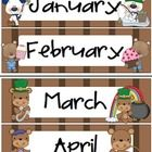 This calendar set was created to cover both a bear or outdoor theme if your classroom.  I chose to go with a warm brown as a background, as I feel that it is both calm and aesthetically pleasing. The calendar includes: 1.  All 12 months- they were created to be printed on legal sized paper. 2.  Dates cards- 13 sets themed for each month, plus on that is unthemed for people like me who want to limit their laminating a cutting. 3.  Days of the Week cards 4.  Names Plates set to match theme. $