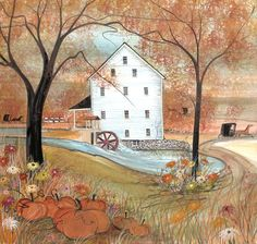 P. Buckley Moss : Autumn at Silver Lake Mill